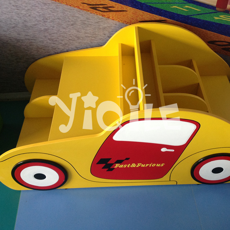 Cool car shape bookcase for children used E1 fireproof cabinets MDF wooden bookshelf
