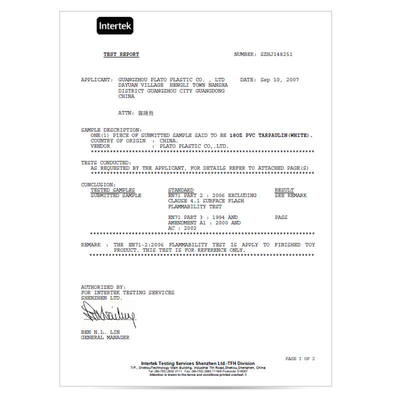 Flame retardant report EN71-2-3